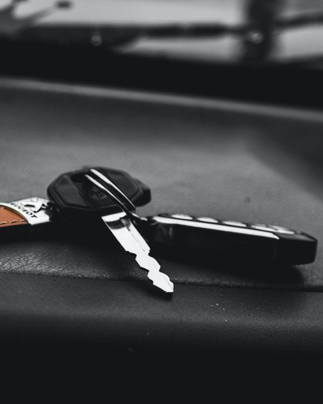 car keys on a car seat